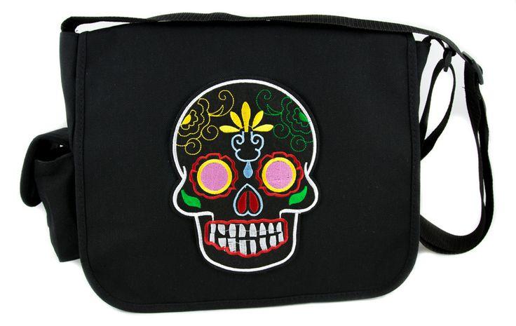 Black Sugar Skull Messenger Bag Crossbody Bag Dia De Los Muertos Day of the Dead