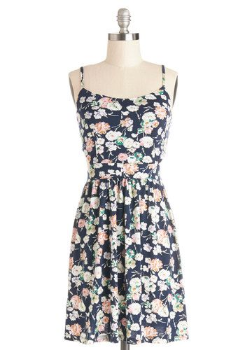 Blossoming Bouquet Dress - Mid-length, Jersey, Knit, Multi, Floral, Cutout, Casual, A-line, Spaghetti Straps, Good, Scoop