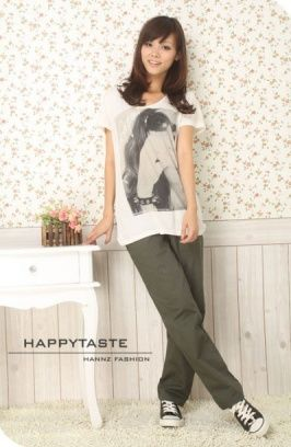 Slim Side Pockets Cotton Trousers Army Green