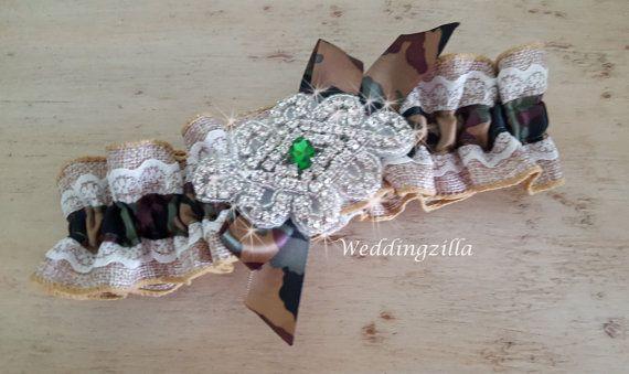 Burlap #Wedding #Garter  #Bridal Garter / Camo Camouflage Garter / Burlap Garter/ Camo Bridal Garter / Wedding Garter Belt/ Rustic Wedding   Burlap, camouflage, lace and bling... #wedding #bride #bridal #garter #hairpiece #weddings #ido #rusticwedding #camowedding #camogarter
