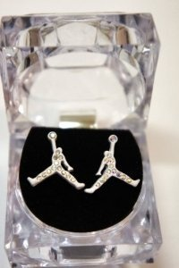 mobeddzz's save of Air Michael Jordan White Matte Color Earring Cz: Jewelry: Amazon.com on Wanelo
