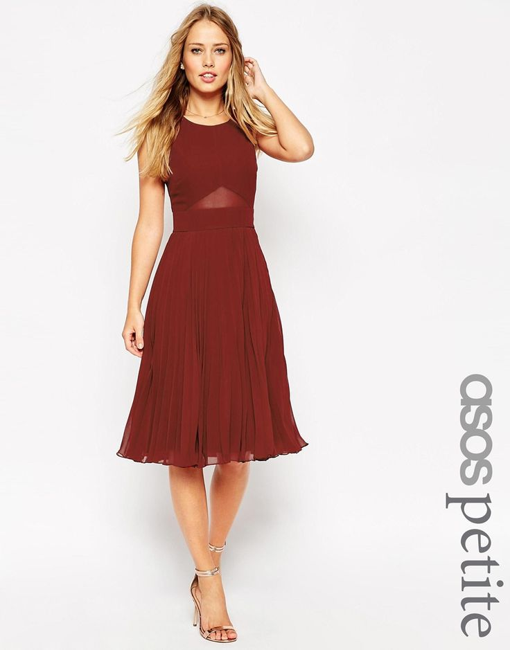 Image 1 ofASOS PETITE Sheer And Solid Pleated Midi Dress