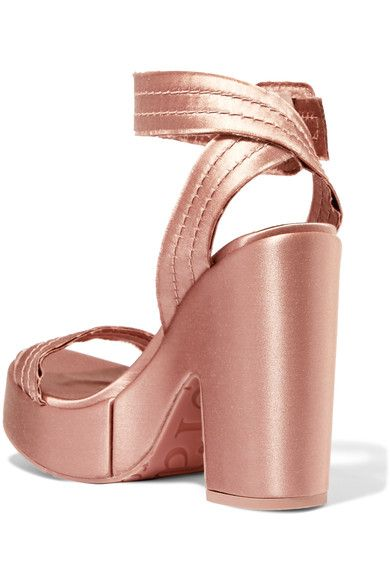 Pedro Garcia - Thora Frayed Satin Platform Sandals - Blush
