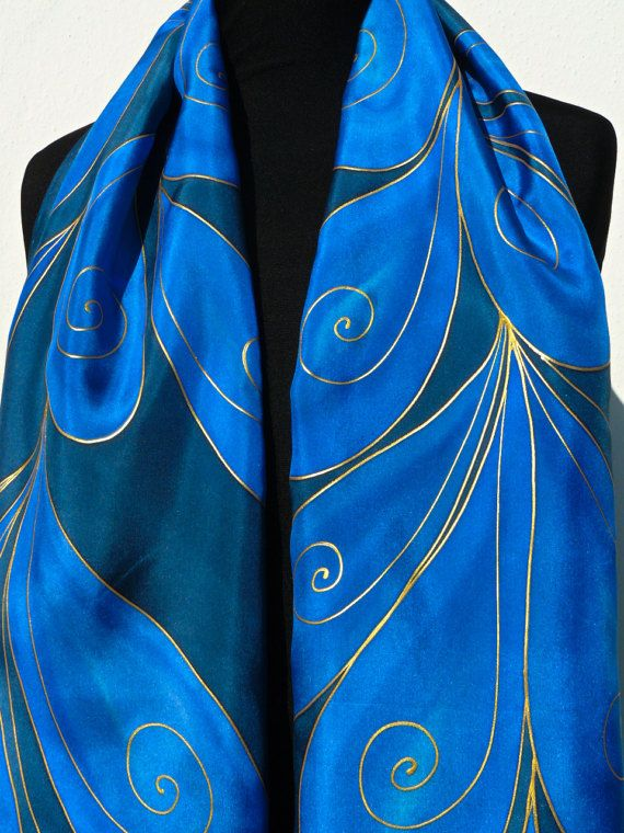 Navy blue silk scarf handpainted Gold art deco leaves by Irisit
