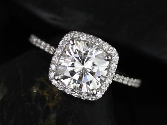 Catalina 14kt White Gold Cushion FB Moissanite and Diamond Halo Engagement Ring (Other metals and stone options available)
