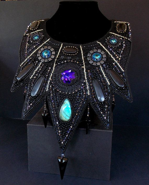Bead embroidery collar necklace statement seed