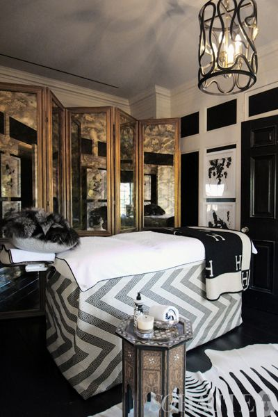 """""""And of course no decadent master suite is complete without a personal massage room…draped in Hermes no less!"""" - aaaaah!"""