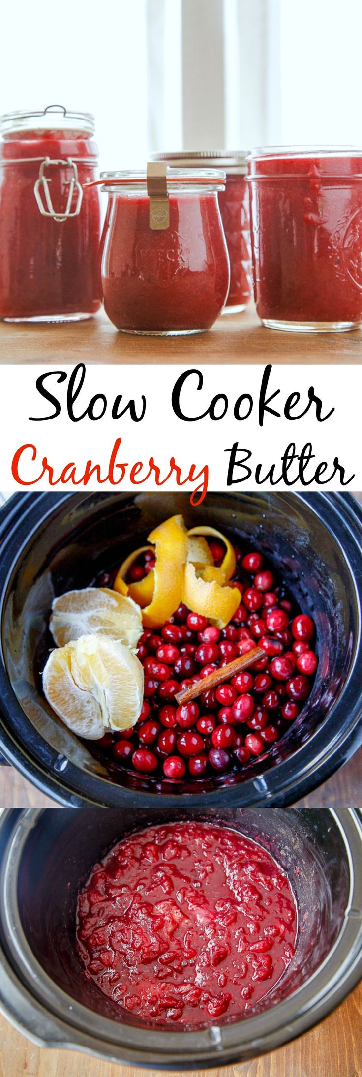 Cranberry sauce made in the slow cooker. Naturally sweetened with maple syrup and fresh orange juice. Puree it and use it like jam or spread on a cheese plate.