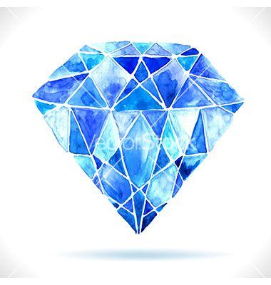 Watercolor beautiful blue diamond vector 2266570 - by ...
