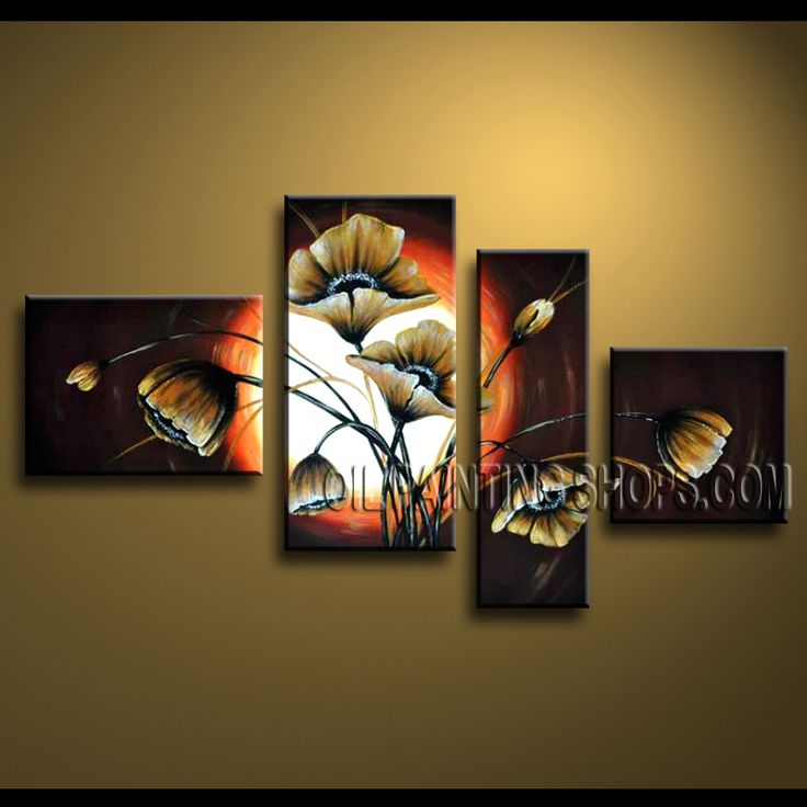 Huge Contemporary Wall Art High Quality Oil Painting For Living Room Poppy Flowers. This 4 panels canvas wall art is hand painted by Anmi.Z, instock - $146. To see more, visit OilPaintingShops.com