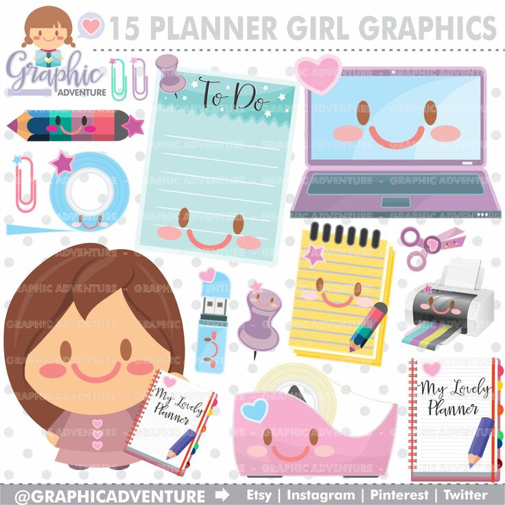 75%OFF - Planner Clipart, Planner Graphics, COMMERCIAL USE, Kawaii Clipart, Planner Icons, Planning Clipart, Planner Accessories, Planner