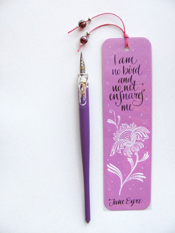Jane Eyre Quotation Pink Bookmark With Handwritten