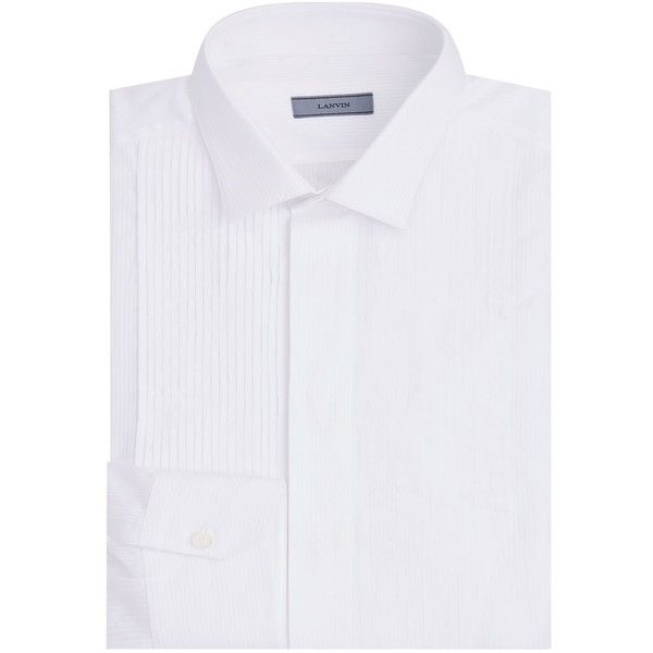 Lanvin Pintuck Tuxedo Shirt (611,535 KRW) ❤ liked on Polyvore featuring men's fashion, men's clothing, men's shirts, mens cotton shirts, mens tux shirt, mens formal shirts, organic cotton men's clothing and mens tuxedo shirt
