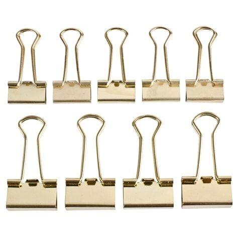 Guldpappersclips. 10-pack. Pappersklämma av bockad metall. Handtagen vikbara framåt för buntning, bakåt för upphängning. 10-pack; 5 st stora, 5 st små.