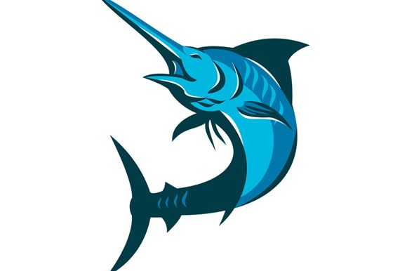 vector illustration of a blue marlin fish jumping on isolated white background done in retro style. The zipped file includes editable vector EPS, hi-res JPG and PNG image