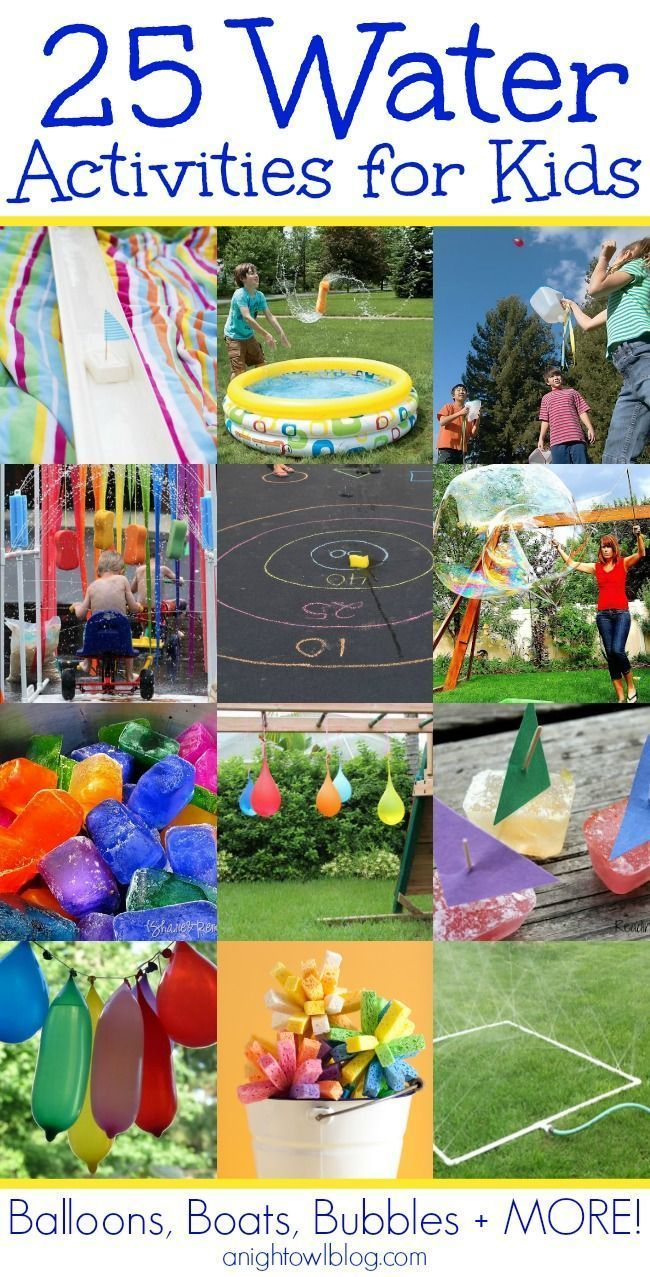 25 Kids Water Activities - keep your kids busy and cool this Summer! Anightowlblog.com