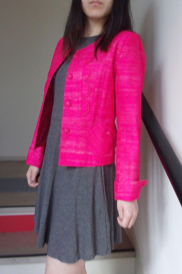 Veste en soie sauvage courte, doublée, fuchsia. : Autre Couture par berbelle-cintius