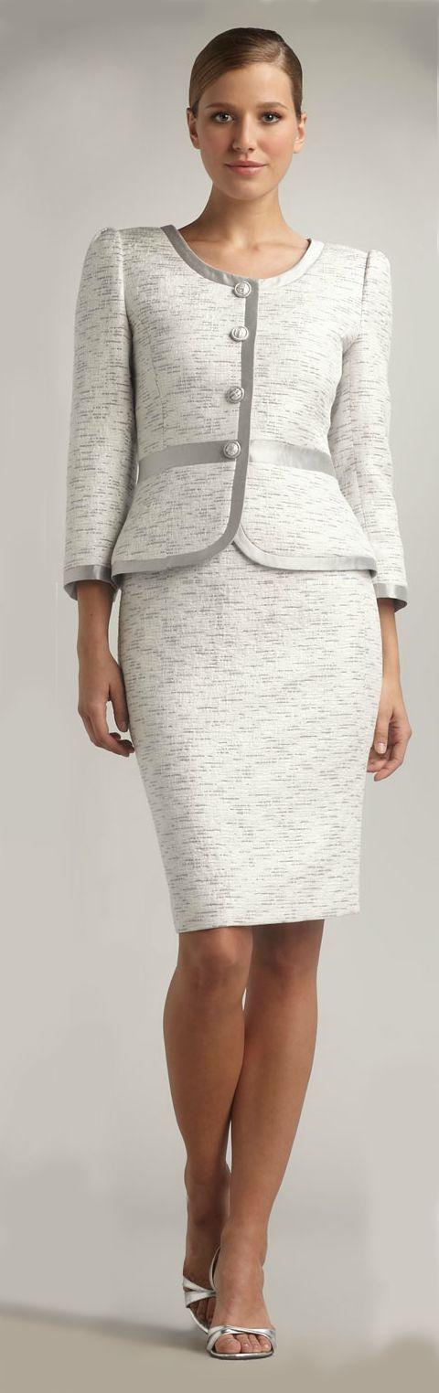 Tahari silver trim skirt suit