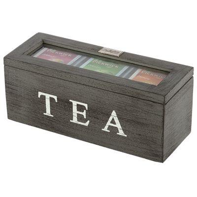 Thee doos Altavilla 3 vaks grijs + zwarte finish. Collectione / Casa-Bella #Accessoires #Opbergen #Doosje #Box #Theedoos #Tea