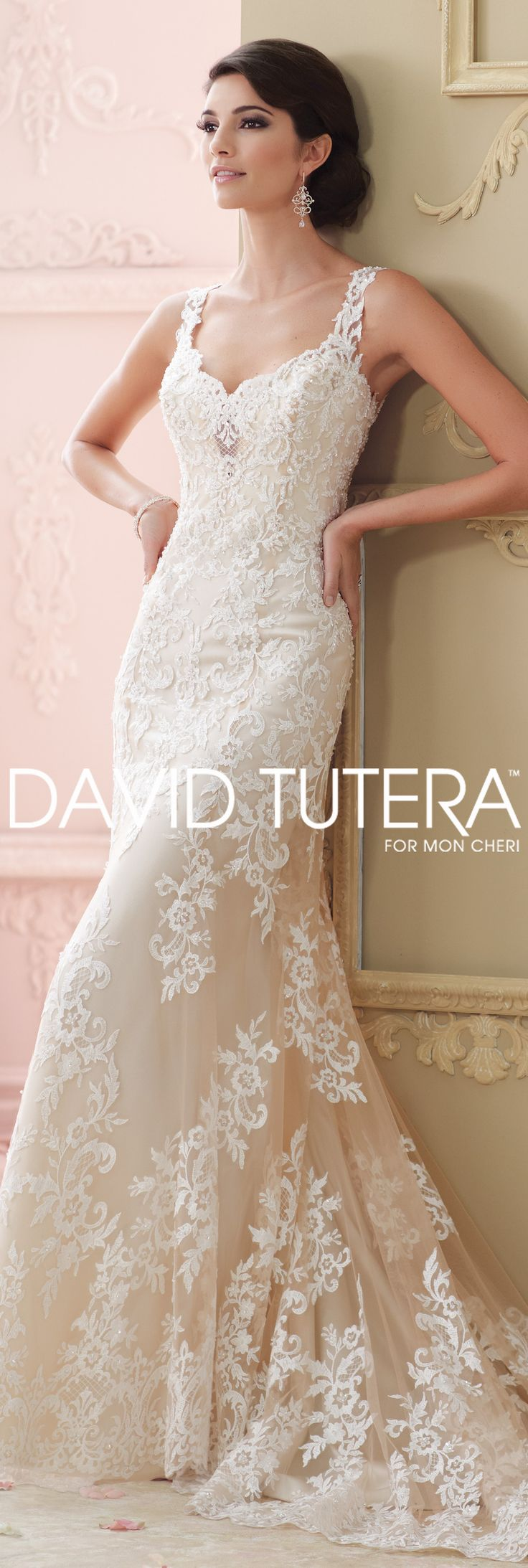The David Tutera for Mon Cheri Fall 2015 Wedding Gown Collection - Style No. 215278 Florine #laceweddingdresses