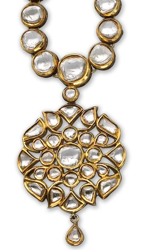 A diamond and enamel necklace of Moghul style, centering a floral panel with table-cut diamonds necklace and enamel reverse; estimated total diamond weight: 25.00 carats; mounted in twenty-two karat gold; adjustable length