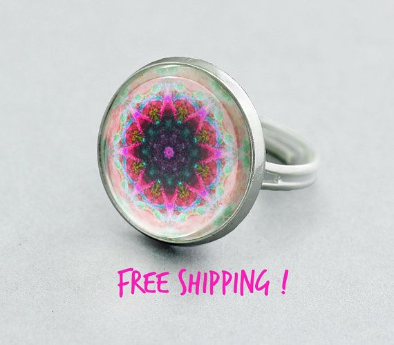 Energizing Mandala Ring. Summer Colorful Ring. Kaleidoscope Adjustable Ring,Silver Plated Ring. Glass Dome Ring.Statement Ring.