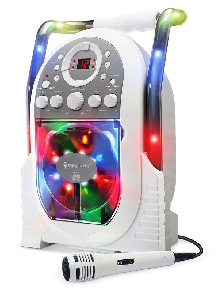 The Singing Machine Karaoke System with LED Disco Lights - White