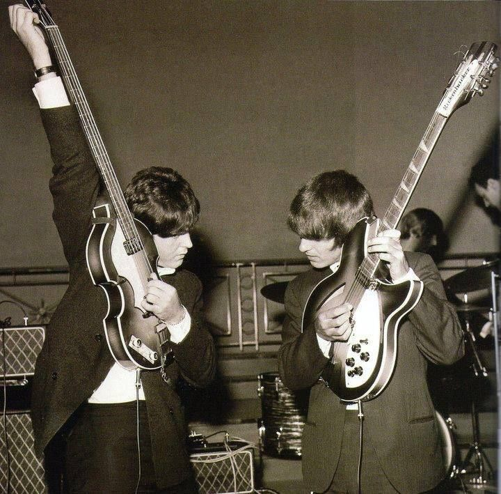 "Paul McCartney and George tune up together with Paul's Höfner 500/1 bass and George's Rickenbacker 360/12 - ""How many Rickenbacker 12-strings did that guy sell? That was a whole new sound too – Roger McGuinn got the idea from George, and then Roger took it to his own place with the Byrds."" -Tom Petty"