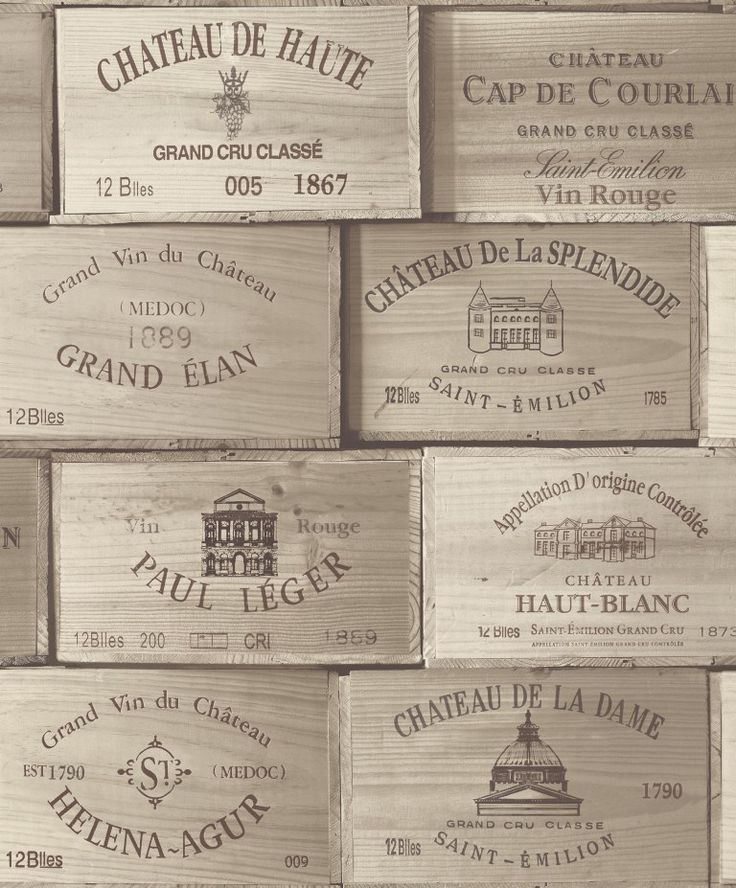Exposed PE-11-02-0 by Grandeco. Wallpaper that looks like a stack of french wine cases. Available through Guthrie Bowron stores.