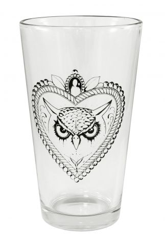 """Owl Locket"" Pint Glass by Inked #inkedshop #owllocket #owl #cup #cute"