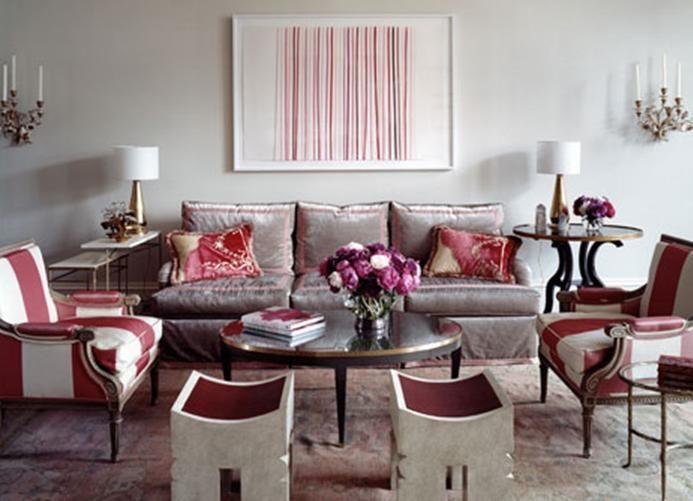 Suzanne Kasler Living Room Red Gray