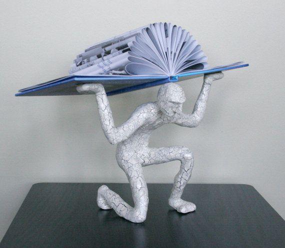 Book Atlas with Blue Book (Original Sculpture)