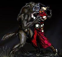 werwulf vs narune the munk of turtet shols by Darkangel2582