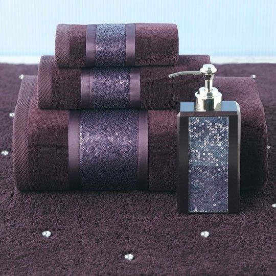 the shimmering sequins band gives this purple towel a luxurious feel annaslinens
