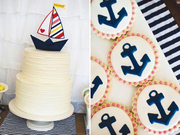 HWTM: Nautical Cookies, Nautical Birthday Parties, Nautical Girls, Anchors Cookies, Nautical Anchors, Sailboats Cakes, Girls Parties, Nautical Parties, Birthday Cakes