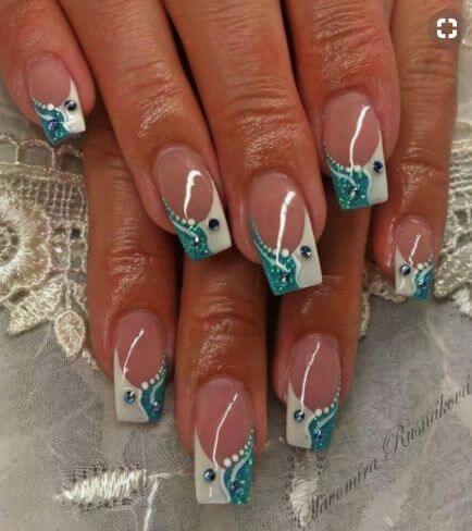 40+ Cute Art Design Nails With Rhinestone