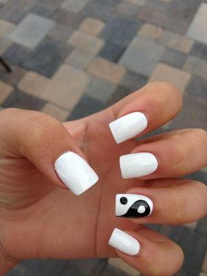 Yin and Yang nails. #bohemian
