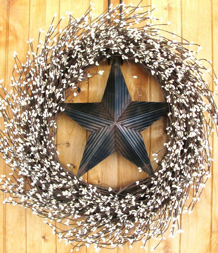 Rustic BARN STAR Wreath-LARGE Wreath-Creamy Vanilla Berry Wreath-Texas Star-Western Decor-Scented Cinnamon Vanilla-Choose your Scent. $79.00, via Etsy.