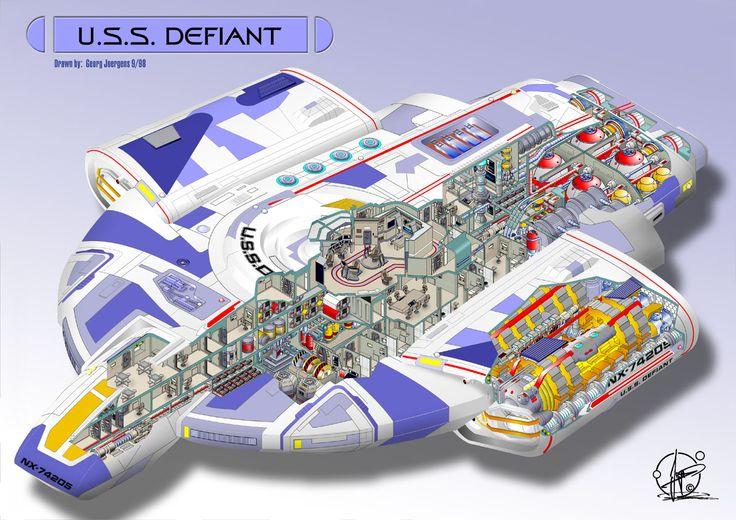 U.S.S. Defiant - cutaway by Paul-Muad-Dib.deviantart.com on @DeviantArt