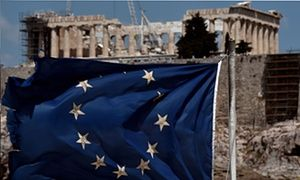 Eurozone tells Greece not to expect debt relief any time soon  Hopes fade for quick solution to thwart Grexit as Eurogroup finance chiefs stress they are waiting for Athens to accept further reforms  A tattered EU flag flutters in front of the Parthenon in Athens.
