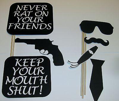 DIY- 15 Photo Booth Props Gangster Good Fellas Mob Guns Cigarette (2094D)