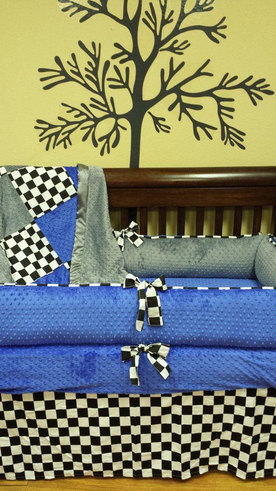 Checkered Flag Crib Set You Design Several Colors