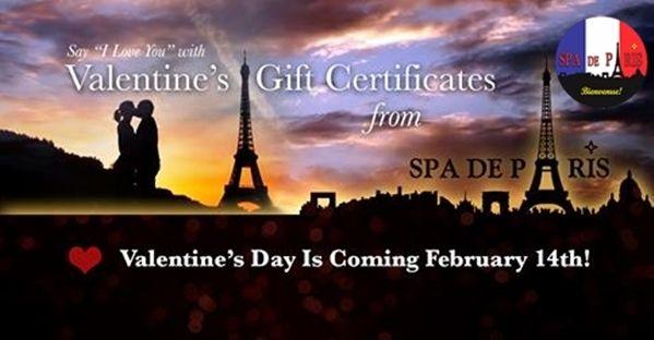 Gift Cards Available For Saint Valentine Spa De Paris Bonjour