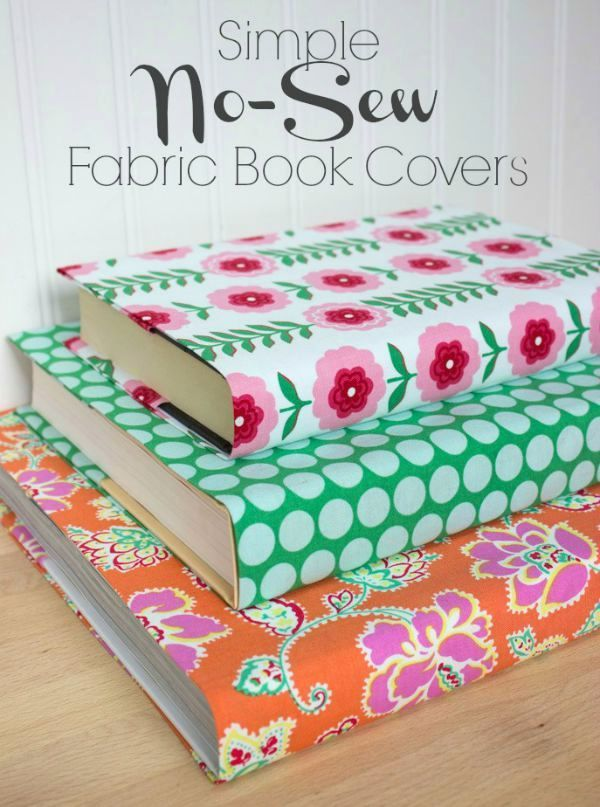 Turn even the ugliest of books into colorful decorative accessories with this simple tutorial for no-sew fabric book covers. So pretty!