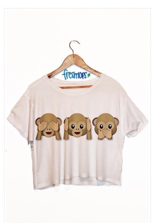 Monkey emoji fresh tops