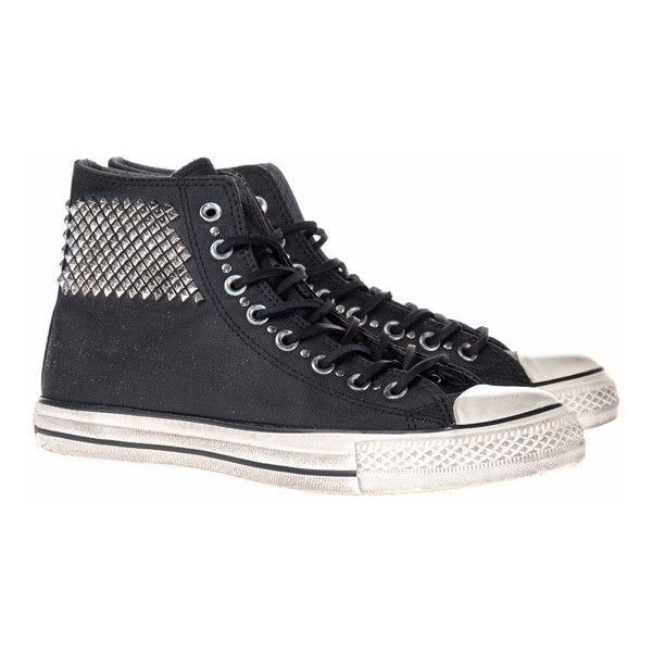 Converse Chuck Taylor Leather Studs Hi-top leather chucks with studs ($295) ❤ liked on Polyvore featuring shoes, sneakers, men, black sneakers, studded high top sneakers, studded sneakers, black shoes and black high tops