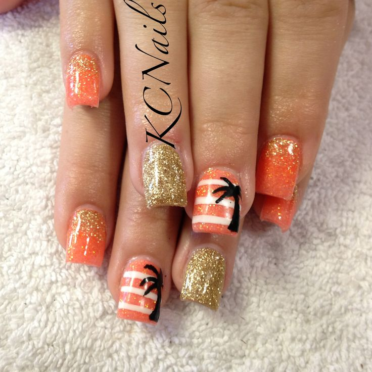 Summer acrylic nails. Orange, white and gold with hand painted stripes and palm tree nail KCNails
