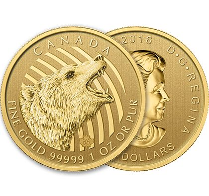 The 1oz Roaring Grizzly Bear Gold Coin from the Royal Canadian Mint is available now. Despite its sometimes fearsome reputation, the grizzly bear is actually a shy, solitary creature that lives a relatively calm life in the forests and mountains of Canada's northwest and northern mainland. The grizzly is often recognized for catching salmon and fish but about 90% of their diet is actually vegetation, spending most of their time foraging berries and other vegetables. Order yours today!