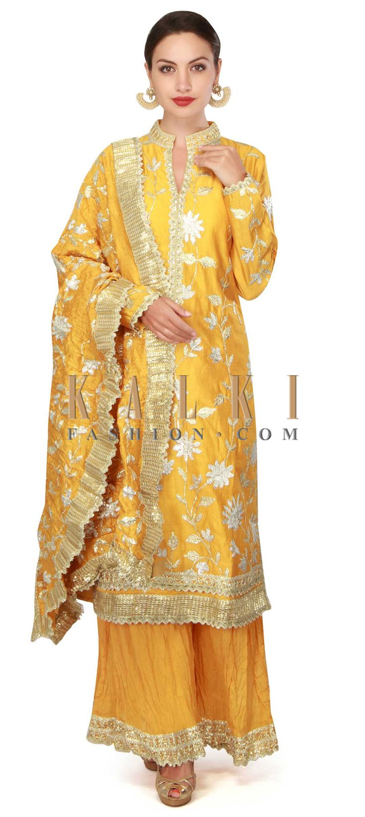 Buy now Yellow suit in gotta lace with palazzo pant only on Kalki