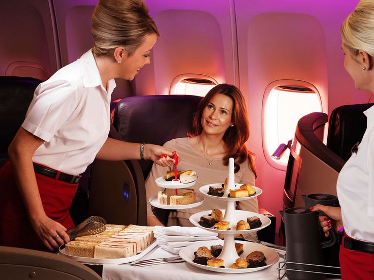 Travelers headed to London during the day on Virgin Atlantic Upper Class are treated to a complete afternoon tea trolley. Making the rounds from seat to seat, flight attendants offer cakes, finger sandwiches, and, of course, scones with jam and clotted cream alongside properly British cups of tea.